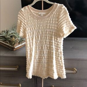 Anthropologie Cream fring tee